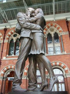 The Lovers statue at St Pancras Station on the platform.  A favourite.
