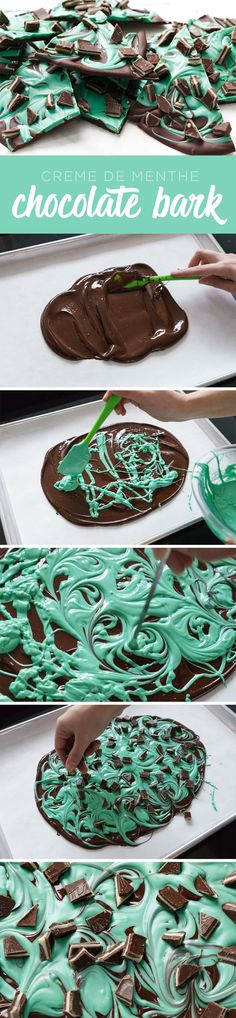Mint Chocolate Swirl Bark Recipe (aka Creme de Menthe Chocolate Bark) via Love and Olive Oil - The BEST Christmas Cookies, Fudge, Candy, Barks and Brittles Recipes - Favorites for Holiday Treats Gift (Best Christmas Snacks) Best Christmas Cookies, Christmas Snacks, Christmas Cooking, Holiday Treats, Christmas Candy, Holiday Gifts, Christmas Goodies, Fudge, Holiday Baking
