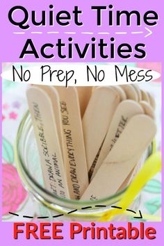 These quiet time activities for kids are absolutely NO Prep and NO Mess! Grab an idea and have 15 minute Educational Activities For Preschoolers, Quiet Time Activities, Calming Activities, Creative Activities For Kids, Printable Activities For Kids, Nanny Activities, Toddler Activities, Time Kids, Business For Kids