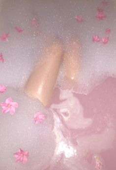 Pink bath bomb + Bubbles + Milk = A soothing sissy bath.