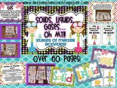 Students will learn about the states of matter (solids, liquids, gases-oh my!) in a fun and creative way! This file (over 60 pages) includes: * 2 e. Science Resources, Science Activities, Science Experiments, Science Ideas, Montessori Science, Science Fun, Science Lessons, Earth Science, Colorful Bulletin Boards