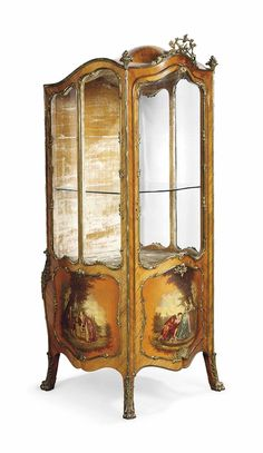 A FRENCH ORMOLU-MOUNTED KINGWOOD AND VERNIS MARTIN FREESTANDING VITRINE - LATE 19TH CENTURY