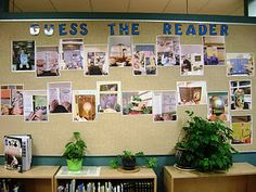 Beginning of school: Love this library display! Take photos of teachers holding a favorite book over their face. Kids guess who is the reader. The winner(s) get to take a lunchtime visit to J.Beth to choose a book for our library. Library Displays, Classroom Displays, Classroom Organization, Classroom Decor, Book Displays, Hallway Displays, Classroom Management, Library Bulletin Boards, Classroom Board