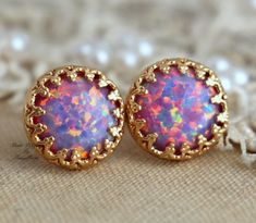 Opal Earrings,Opal Stud Earrings,Gift For Woman,Gold Opal Earrings,Christmas Gift for her,Purple Ear