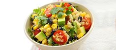 Quinoa + Black Bean Salad - This light and satisfying side dish is great to make in advance so you can spend more time enjoying your BBQ. Everyone will enjoy quinoa, black beans, corn and grape tomatoes mixed in a light vinaigrette. Clean Eating Recipes, Healthy Eating, Cooking Recipes, Healthy Recipes, Quick Recipes, Veggie Recipes, Healthy Foods, Yummy Recipes, Vegetarian Recipes