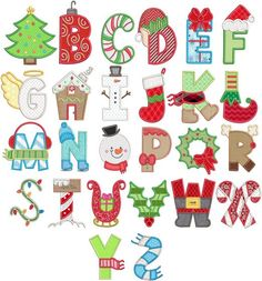 Embroidery Patterns Christmas Applique Alphabet Machine Embroidery Designs By JuJu - Alphabet Design, Hand Lettering Alphabet, Caligraphy Alphabet, Christmas Alphabet, Christmas Applique, Christmas Art, Applique Patterns, Applique Designs, Machine Embroidery Designs