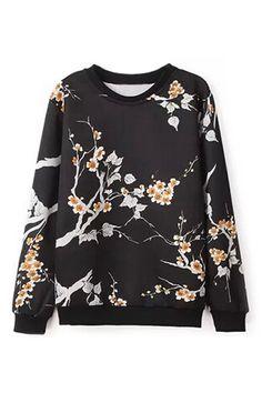 ROMWE | Floral Print Sweatshirt