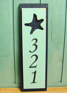 House Number Sign Starfish Beach Lake House Decor by CastawaysHall