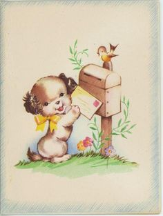 VINTAGE CUTE SPANIEL PUPPY DOG ROBIN BIRD MAIL BOX 1930S CARD PRINT Imperfect in Collectibles, Paper, Other Paper Collectibles | eBay