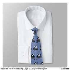 #Scottish Ice Hockey Flag Logo Tie. Ice hockey ties, many designs available! These make great gifts for hockey mad dads, sons, uncles, brothers etc. #Zazzle #IceHockey  #Scotland