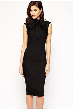 Black Pencil Midi Dress with Bow