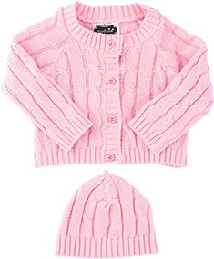 Mud Pie BabyGirls Newborn Pink Cable Knit Sweater  Cap Set 06 Months -- Click on the image for additional details. (This is an affiliate link) #BabyGirlSweaters