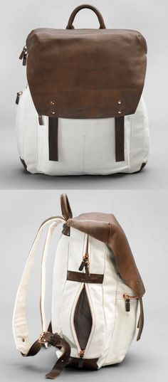 Leather + canvas backpack