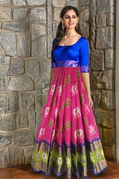 New dress collection Lehenga Designs, Kurta Designs, Blouse Designs, Indian Designer Outfits, Designer Dresses, Indian Outfits, Long Gown Dress, Long Dresses, Ikkat Dresses