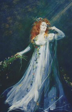 Design for Dame Joan Sutherland as Ophelie in Ambroise Thomas' Hamlet. Canadian Opera Company, 1985.