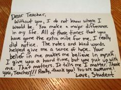 a sincere thank you note is usually the 1 thing teachers love to get from parents students administrators and more any thank you note goes a long