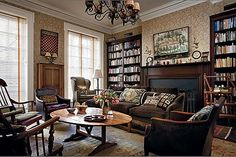 Woody Allen's Personal Library rocks. It's comfortable, cozy, and old-school east coast-looking; Woody Allen, Indiana Jones Room, James Watt, Traditional Office, Beautiful Library, English Country Style, Manhattan Apartment, New York Homes, West Side Story