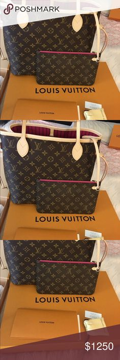Authentic bag Louis Vuitton Neverfull MM Used 2017 like New include box dust bag recipe Louis Vuitton Bags Shoulder Bags