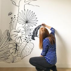 Simple Wall Paintings, Wall Painting Decor, Art Painting Gallery, Diy Wall Art, Metal Wall Art, Shadow Painting, Mural Art, Wall Murals, Wall Art Designs
