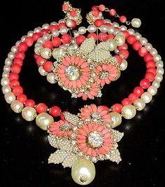 Miriam Haskell Amazing Red Bead Baroque Pearl Rhinestone Necklace Bracelet Set   eBay