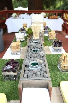 smores bar set for garden theme  I want to make this happen! *flails*
