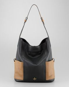 """Nina Two-Tone Leather Hobo Bag at CUSP  15""""W x 13""""H x 8""""D; weighs 1 lb."""