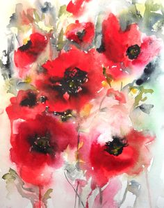 "Saatchi Online Artist: Karin Johannesson; Watercolor 2013 Painting ""Poppies en masse V"""