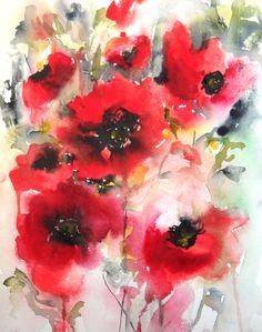 "Saatchi Online Artist: Karin Johannesson; Watercolor 2013 Painting ""Poppies en masse V"""