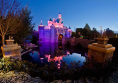 """Disneyland at 5:55 am, just before the sunrise during what photographers call """"blue hour."""""""