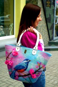 Felted handbag The Garden of Eden Wool Drawing by ApratovaFelting