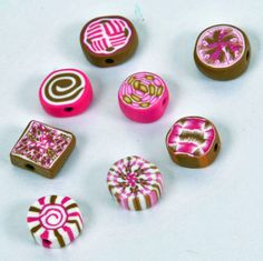 Polymer Clay Beads  Pink and Brown by DeidreNabors on Etsy, $3.99