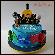 Cake Devils - Birthday Cakes - Cake Devils Cake Toppers are Shipped to Your Door Nationwide! Custom Cakes for the NC Triad Area! Pj Masks Birthday Cake, 4th Birthday Cakes, Custom Birthday Cakes, Boy Birthday Parties, Custom Cakes, Birthday Ideas, Thomas Birthday, Leo Birthday, Pjmask Party