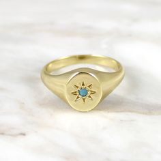 Mesmerizing Authentic Native American Turquoise Jewelry Ideas Turquoise Jewelry Outfit Signet Ring with Turquoise - Victorian inspired starburst setting with turquoise stone. - gold vermeilξ - Size 7 or 8 - Packaged in our signature glass bottle Wedding Rings Rose Gold, Bridal Rings, Diamond Wedding Bands, Gold Rings, Signet Ring, Ring Verlobung, Bijou Brigitte, Engagement Ring Settings, Engagement Rings