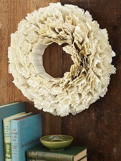 By-the-Book Wreath  Directions !  Give book pages a dramatic redo with frilly, border-punched edges. Folded and stacked strips round it out.