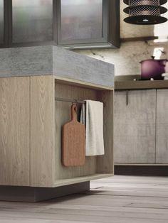 """Loft representa la expresión de las más recientes tendencias """"urban"""": muebles de cocina compactos y resistentes hechos de madera laminada con efecto """"envejecido"""", combinada con materiales naturales: madera, metales y vidrio que, combinados, crean un ambiente envejecido que evoca a un status symbol urbanos."""