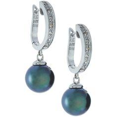 Belpearl Tahitian Pearl/Diamond Hoop-Drop Earrings ($462) ❤ liked on Polyvore featuring jewelry, earrings, hoop earrings, 14k earrings, diamond drop earrings, diamond earrings and post earrings