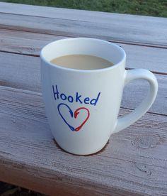 Sharpie mug, Hooked! ~ Red White Blue, Coffee,  Fishing, Holidays, Valentine, Craft, Gift, DIY, nailed It