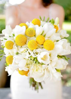 10 Insanely Pretty Spring Wedding Bouquets: Crisp white freesia and bold yellow craspedia billy balls create a chic and modern bouquet. http://www.colincowieweddings.com/flowers-and-decor/10-insanely-pretty-spring-wedding-bouquetsFloral by The Flower Bucket