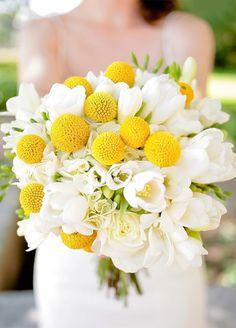 Billy Balls, White Freesia & White Roses.