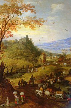 ヨース・デ・モンペル (Joos de Momper)「Rocky Landscape with Cattle on Road」
