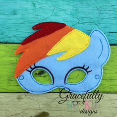 Rainbow Pony Felt Mask Embroidery Design - 5x7 Hoop or Larger