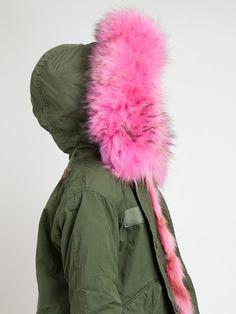 Mr & Mrs Furs Pink Fur Lined Parka Jacket in Green (pink & purple) | Lyst