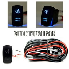 MICTUNING LED Light Bar Wiring Harness 30 AMP Fuse Blue Laser Rocker Switch