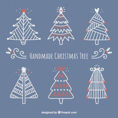 Árvores de Natal Handmade Vetor grátis