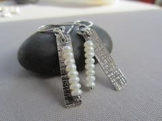 SALE 20% OFF/ Texturized Silver Earrings w. Pearl/ Pearl by mese9