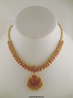 1 Gram gold necklace designs, One Gram Gold Necklace Design, Gold Plated Necklace Designs, Gold Plated Ruby Necklace Designs Ruby Necklace Designs, Simple Necklace Designs, Gold Ruby Necklace, Gold Necklace Simple, Gold Jewelry Simple, Jewelry Design Earrings, Indian Gold Necklace Designs, Pendant Jewelry, Pretty Necklaces