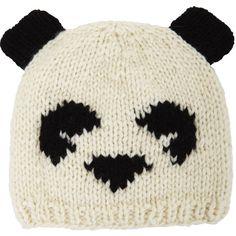 BCBGMAXAZRIA Intarsia Panda Hat (66 AUD) ❤ liked on Polyvore featuring accessories, hats, beanies, gorros, ivory, white winter hat, panda bear beanie, beanie cap, beanie hats and panda beanie hat