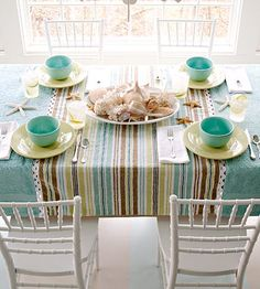 Towel Table Covering  Cover your table in summer style by joining three bath towels trimmed in large rickrack. Wash and dry three bath towels and trims. See next slide for detail.