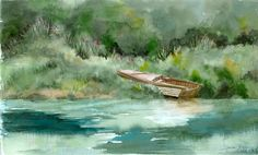 Summer Retreat.  A giclee print of an original watercolor painting of the river's edge.