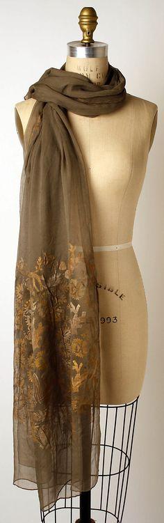 Scarf Maria Gallenga  (Italian, Rome 1880–1944 Umbria) Date: first quarter 20th century Culture: Italian Medium: silk Dimensions: Length: 92 in. (233.7 cm) Accession Number: 1991.187.8